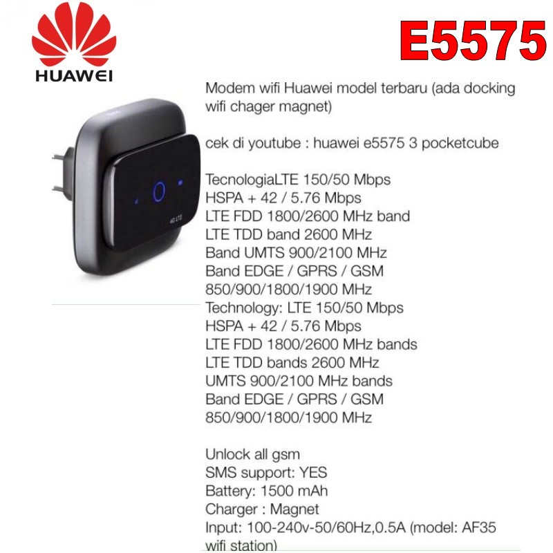 New Arrival Original Unlock 150Mbps HUAWEI E5575 Portable 4G LTE Modem WiFi  Router With Sim Card Slot And EU Connector