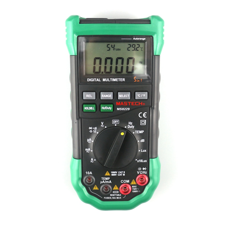 MASTECH MS8229 Digital Multimeter Auto&Manual Range Multi Function Thermometer Hygrometer Sound Luminosity Tester mastech ms8211d pen type digital multimeter manual auto range