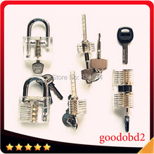 5pcs/Set Cutaway Visable Practice Padlock Lock Training Learning Skill Pick For Locksmith tool air wedge free shipping 9pcs transparent visible cutaway practice padlock door lock pick training skill for locksmith