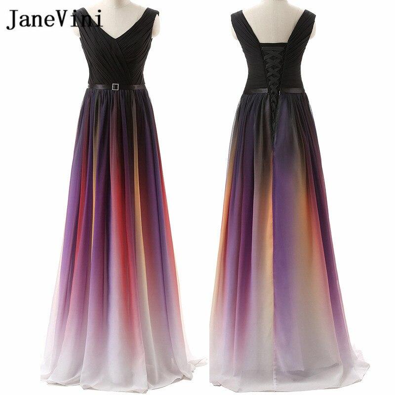 JaneVini 2018 Gradient Long   Bridesmaid     Dresses   for Wedding Party V Neck Chiffon Girls Maid of Honor Gowns Vestidos Dama De Honra