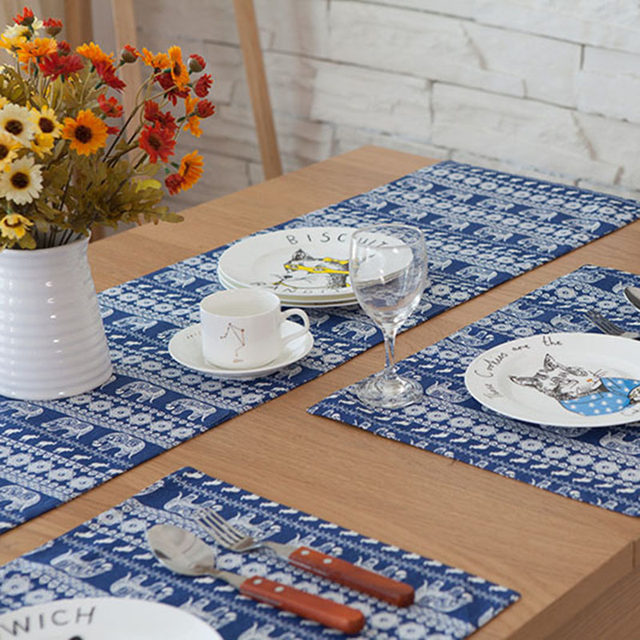 Original Design Southeast Asian Table Runner American Luxury Table Runners  Blue Small Dining Table Runners Flag Bed Tafelloper
