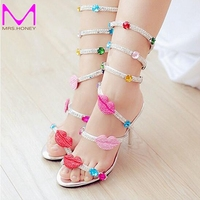 Summer Women Sandals Open Toe Rhinestone Lady Designer Gladiator Sandal Boots Shinny Bridal Wedding Shoes Snake