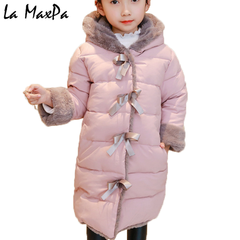 2018 New Winter Big Girls Warm Thick Jacket Outwear Clothes Cotton Padded Kids Teenage Coat Children Faux Fur Hooded Parkas P11 new 2017 winter cotton coat women slim outwear medium long padded jacket thick fur hooded wadded warm parkas winterjas cm1634