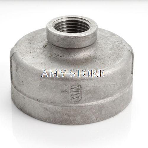 2x1/2Female Nipple Threaded Reducer Pipe Fitting Stainless Steel 304 BSP NEW 1 2 x 1 2 threaded 90 angle elbow pipe fitting connector nipple