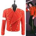 Rare MJ Michael Jackson Red & Black Militar Inglaterra Estilo Informal Legal Outerwear Jaqueta