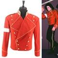 Rare MJ Michael Jackson Rojo y Negro Inglaterra Estilo Militar Informal Chaqueta Fresca prendas de Vestir Exteriores