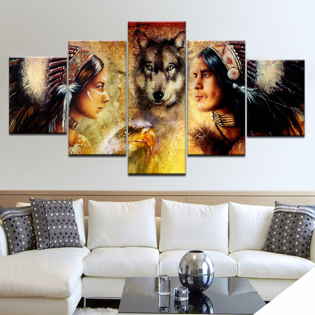 5 Panel HD Print Painting Indians And Wolf Wall Poster Pictures On Canvas Art Painting For Home Living Room Decoration Framework