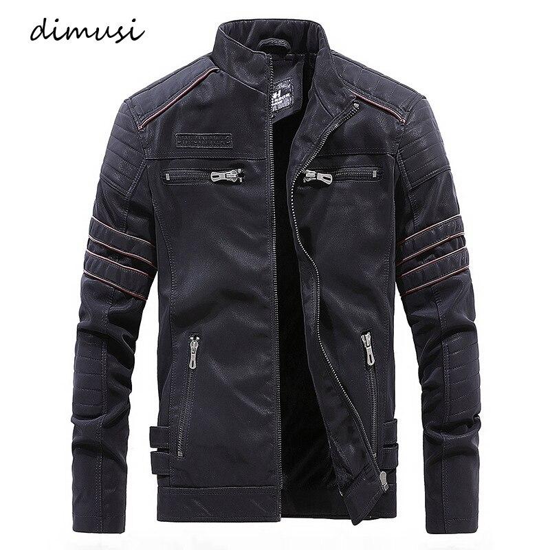 Chaqueta de cuero DIMUSI para hombre Abrigos de cuero cálidos de lana de invierno para hombre chaquetas de cuero PU de motocicleta Vintage chaqueta cuero hombre