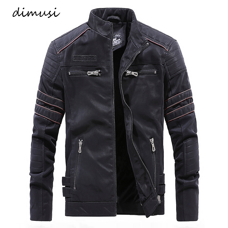 DIMUSI Men's Leather Jacket Winter Fleece Warm Leather Coats Male Motorcycle Vintage PU Leather Jackets Chaqueta Cuero Hombre