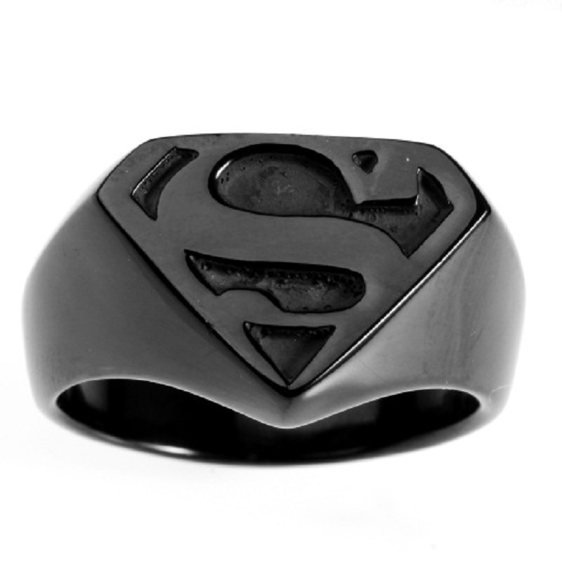 New Cool Black Men's Superman Superhero Symbol 316L Stainless Steel Ring