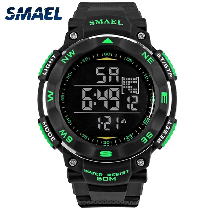 6c0a5d2aef7b Moda hombres relojes smael marca digital Reloj LED Militar reloj masculino  50 m buceo impermeable reloj deportivo al aire libre ws1235