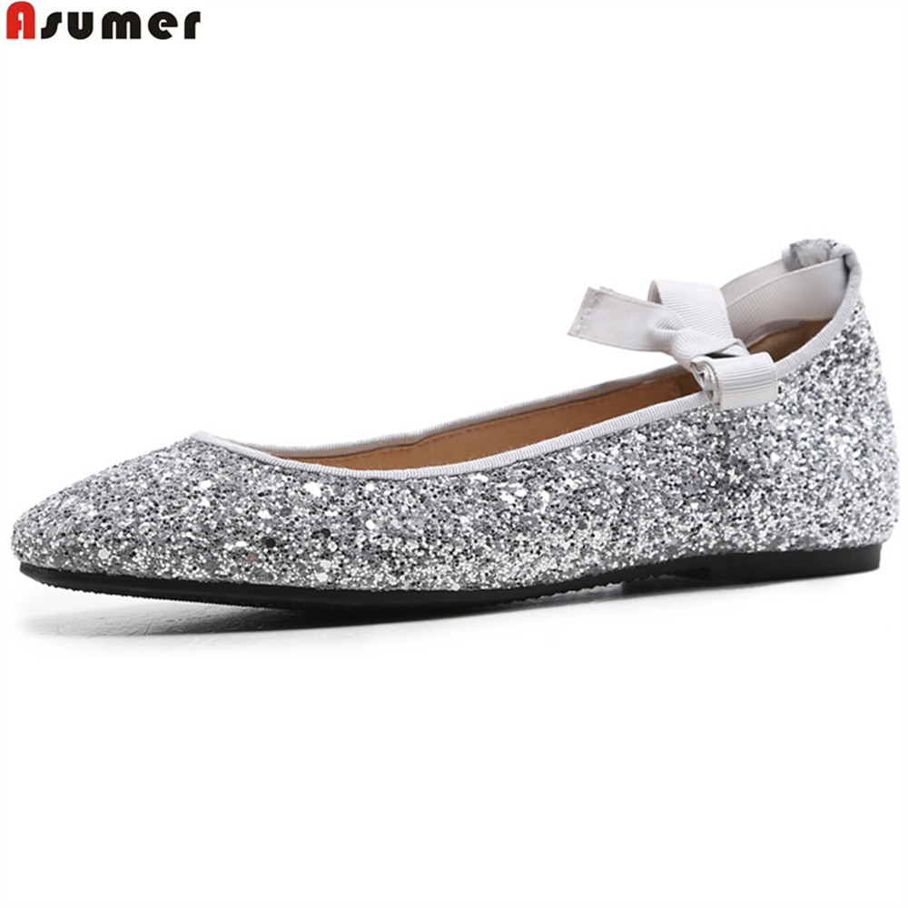 Asumer fashion spring autumn new women shoes square toe shallow cross tied bling sweet women genuine leather flats shoes asumer white spring autumn women shoes round toe ladies genuine leather flats shoes casual sneakers single shoes