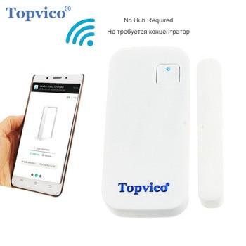 Topvico Sensor de puerta WIFI APP Control 110dB alarma de seguridad de puerta interruptor magnético inalámbrico Ventana de puerta de seguridad para el hogar