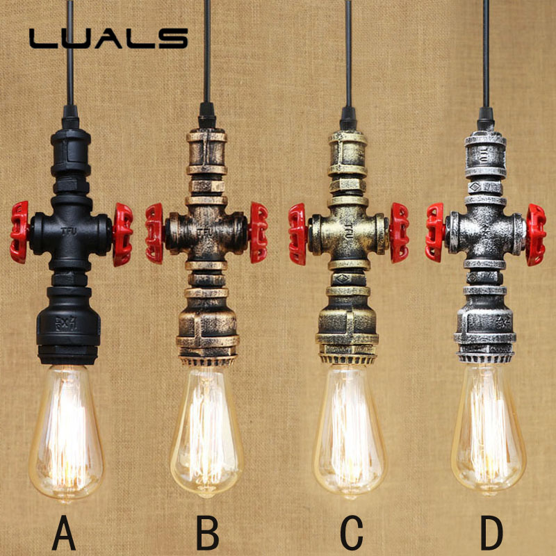 2 pcs Nordic Country Style Vintage Pendant Light metal Water pipes Pendant Lamp Cafe Bar Creative Edison Lamps Art Deco Lighting 2 pcs loft retro light rusty color hanging lamp cafe bar pendant lights creative edison lamps industrial style pendant lighting