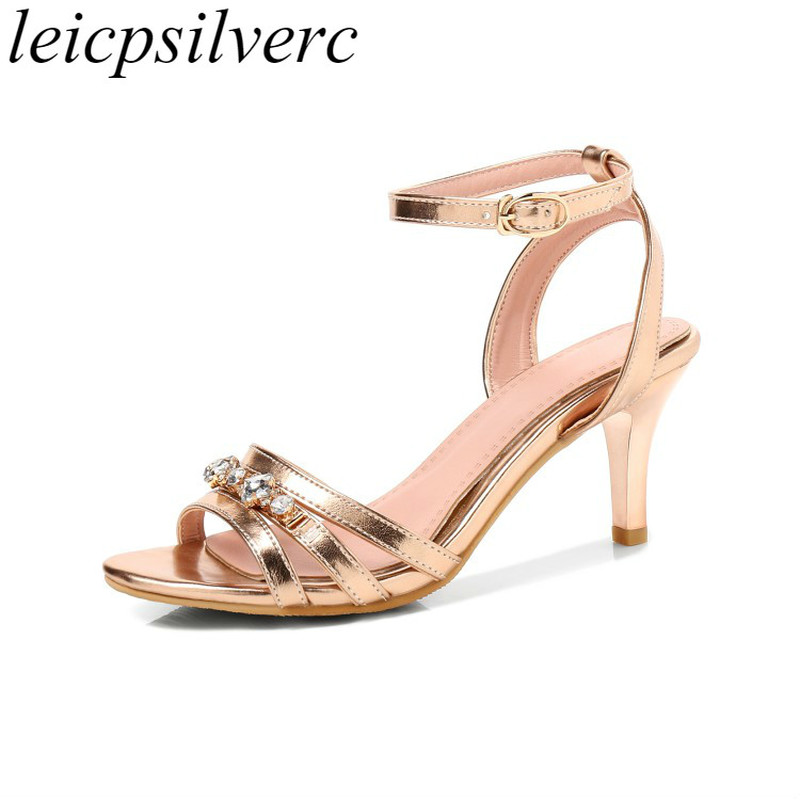 Women Sandals Beach <font><b>Shoes</b></font> High <font><b>Heel</b></font> Summer Pu Crystal Buckle Gladiator <font><b>2018</b></font> <font><b>Sexy</b></font> Fashion Casual Party Wedding Office Gold Silver image
