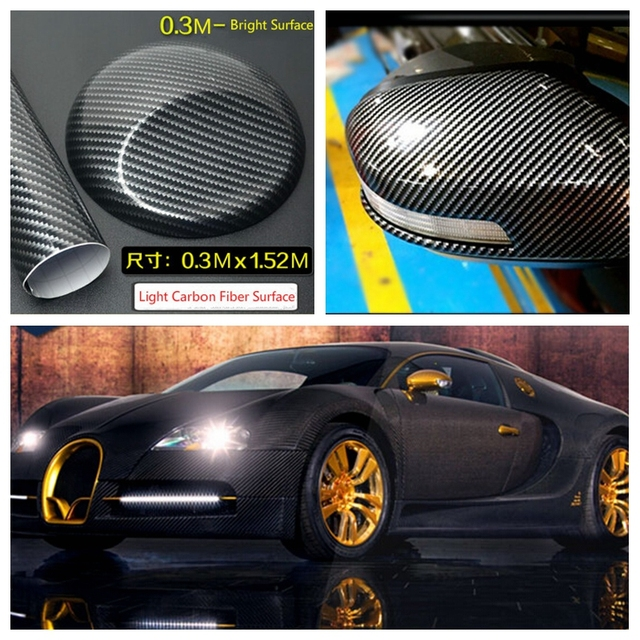 Car Body Stickers Bright Carbon Fiber Decals Vinyl Wrap Motorcycle Protector For Volkswagen VW Golf