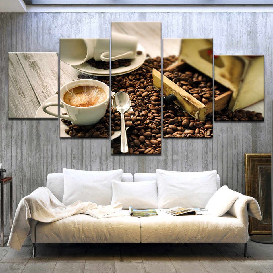 5 Panelpieces modern canvas painting Coffee Gallery coffee beans wall posters For home living room decoration