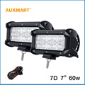Auxmart 2 шт. 7 inch 60 Вт 7D Светодиодные Бар OffRoad Спот Наводнение Луч Свет работы 12 В 24 В для Грузовиков Лодка Пикап Прицеп 4X4 SUV ATV RZV