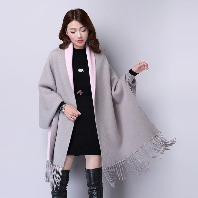 Ladychili Fashion Elegant Women Keep Warm Long Boatwing Sleeve Cardigan Scarves Wraps With Tassel Knit Two Color Soft Swing S72 Up-To-Date Styling