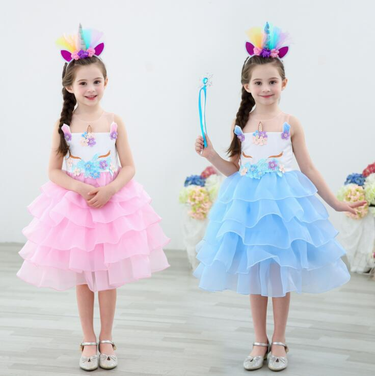Free Shipping Unicorn Tutu Tulle Dress with Hair Hoop Princess Flower Girls Party Dress Children Kids Halloween Unicorn Costume