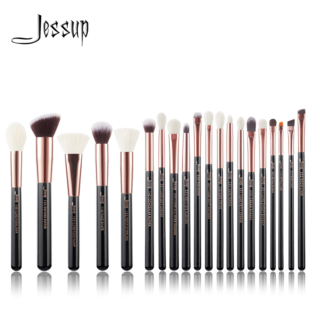 Jessup Rose Gold /Black Professional Makeup Brushes Set Make up Brush Tools kit Foundation Powder Brushes natural-synthetic hair at fashion 12 pcs makeup brushes set studio holder portable make up cup natural hair synthetic duo fiber makeup brush tools kit