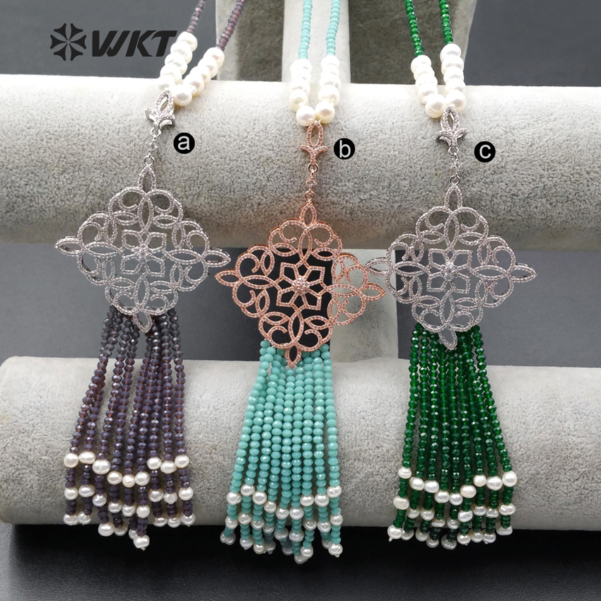 WT MN921 Wholesale 24inch long 3mm crystal beads tassel necklace Unique bohemian gorgeous shinny beads tassel