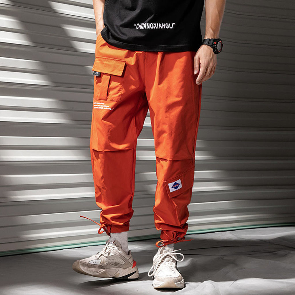 Overalls Men Cargo Harem trousers sweatpants multi-pocket loose casual hip hop streetwear stitching casual sports pant plus size