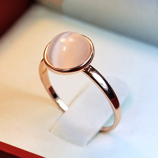 White stone Created Opal Wedding Rings for women Jewelry Rose Gold color engagement Ring female Anel bijoux gift top quality S8