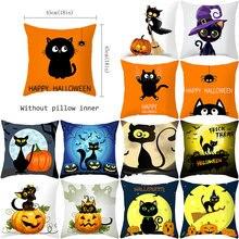 YWZN Halloween Printing Cushion Cover Halloween Pumpkin Cat Throw Pillow Case Pumpkin Cat Decorative Pillowcase Cushion Cover cat print pillowcase cover