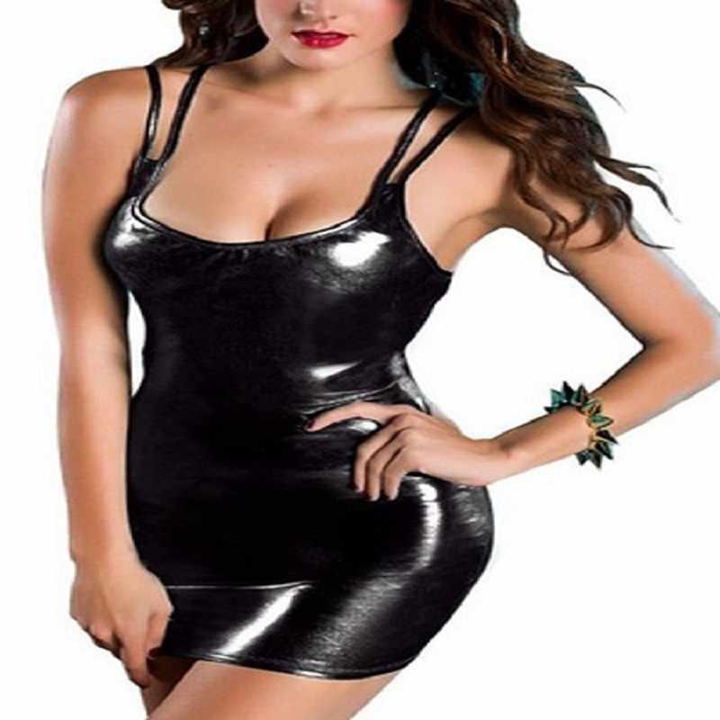 Vrouwen Sexy Pu Leer Jurken Vrouw Party Night Sexy Diepe V-hals Sling Backless Mini Bodycon Club Jurk Vestidos De verano #38