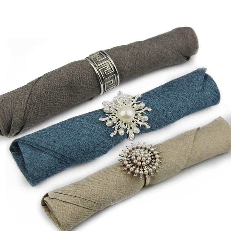 2Pc 50cmX50cm Linen Cotton Napkin Cloth Euro Fashion Western Table Napkin Wedding Hotel Accessories