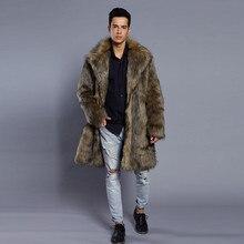Черный для мужчин из искусственного лисьего Мех животных пальто с лацканами теплые толстые модная куртка кардиган ветровк
