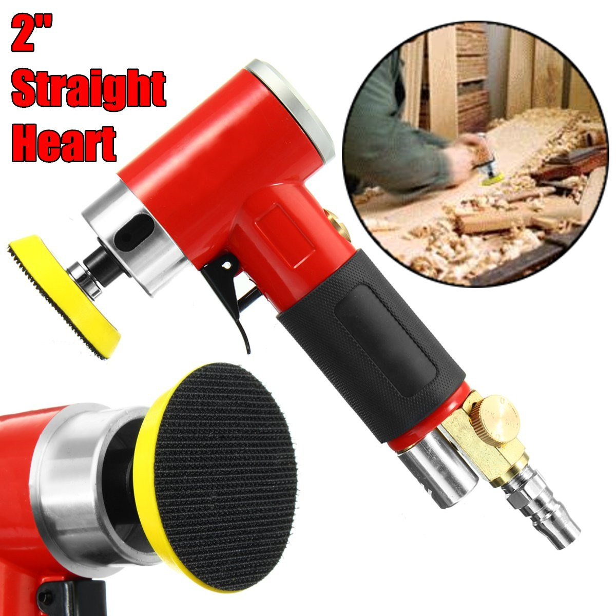 2 Inch Straight Heart High-speed Mini Pneumatic Sanding Machine with Push Switch and Sanding Pad for Polishing / Grinding 11 11 free shipping adhesive sander back pad sanding machine mat black white for makita 9035