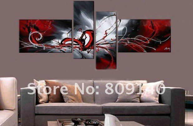 Stretched abstract red grey contemporary oil painting for Modern home accessories uk