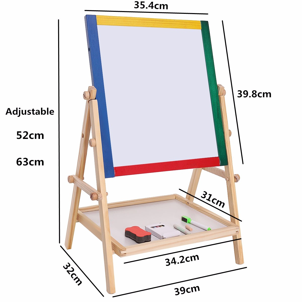 adjustable children kids 2 in 1 black white wooden easel chalk drawing board educational toy - Whiteboard Easel