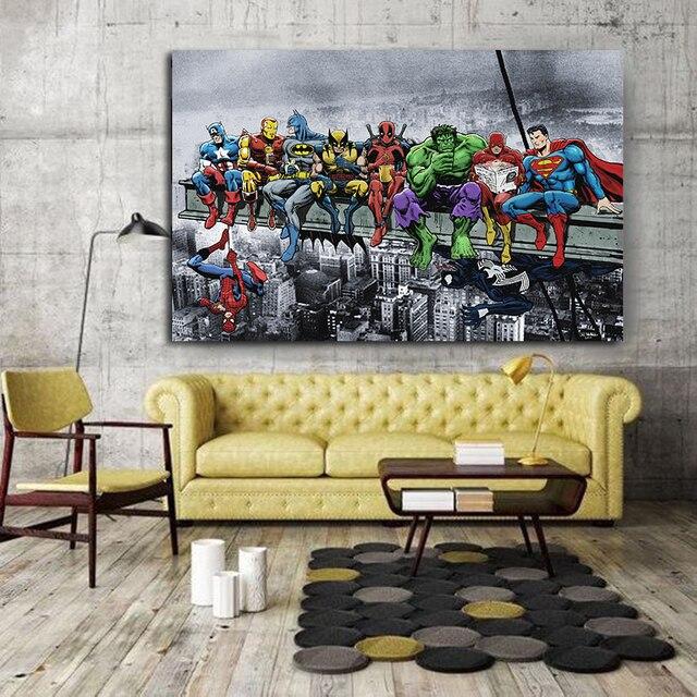 Superheroes Marvel DC United Canvas Poster 3