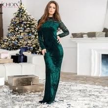 ICHOIX Verde di Velluto Delle Donne Del Vestito Lungo di Lunghezza Del  Pavimento Sexy Aderente In Pizzo Maxi Vestiti Eleganti di. 4b25c7552af