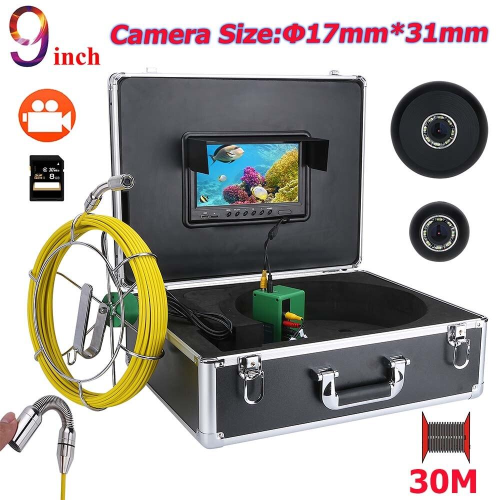 MOUNTAINONE 9 дюймов DVR HD 17 мм промышленных трубы Канализационные инспекции видео Камера Системы IP68 1000 ТВЛ Камера с 8 шт. светодио дный 8 г 40 м 50 м