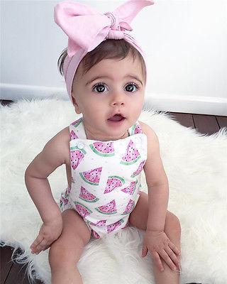 Baby Girl Fruit Watermelon Sleeveless Romper with Headband Set