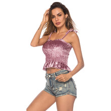 summer velvet crop top women clothes 2019 haut femme satin slip cami top plus size off shoulder casual spaghetti strap top 0154