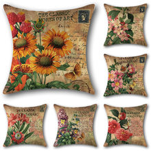 45x45 Cm Square Vintage Classic Warm Flowers Poster Sofa Cushion Cover Cotton A Linen Home Decor Retro Throw Pillow Cover(China)
