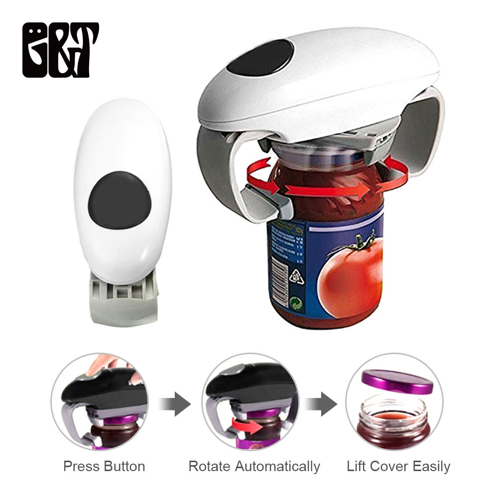 GT Mini One Touch Automatic Jar Opener Tin Opener  Automatic Electric Hands Free Operation Kitchen Tools Gadgets Home Helper