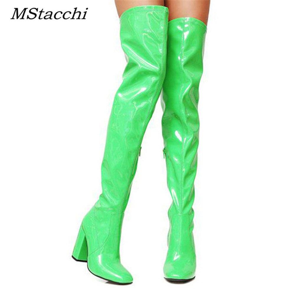 Mstacchi Sexy Party chaussures femme au-dessus du genou bottes filles fantaisie robe à talons hauts femmes bottes lumineuses en cuir verni longues bottes 48