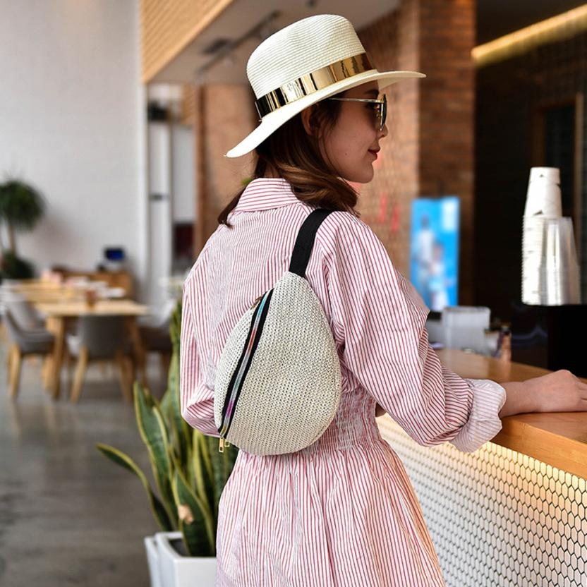 Мода соломы тканые сумка кошелек дамы сплошной цвет молнии сумка нагрудный карман # F