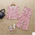 Nueva llegada 100% femenino de seda pura conjunto dormir en casa con manga larga de seda pesada dos conjuntos de pijamas de moda noble nightgowns-b61