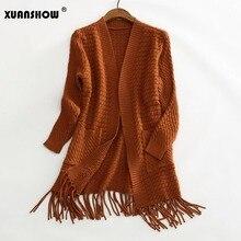 Xuanshow Леди Открыть стежка Новое поступление 2017 года Для женщин свитер с длинным рукавом Мода кисточкой женский свитер пальто тянуть Femme