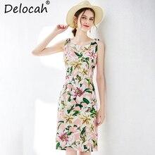 Delocah New 2019 Women Spring Summer Dress Runway Fashion Sleeveless Floral Printed Elegant Vintage Slim Holiday Midi Dresses цены