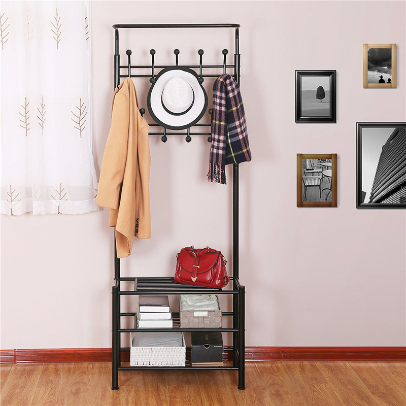 Liplasting New Multifunctional 3-layer shoe racks and clothes hanger stand up Storage rack living room bedroom home Organization