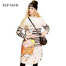 Elf SACK 2016 старинные цвет блока украшения воротник рубашки вниз пальто длинный дизайн