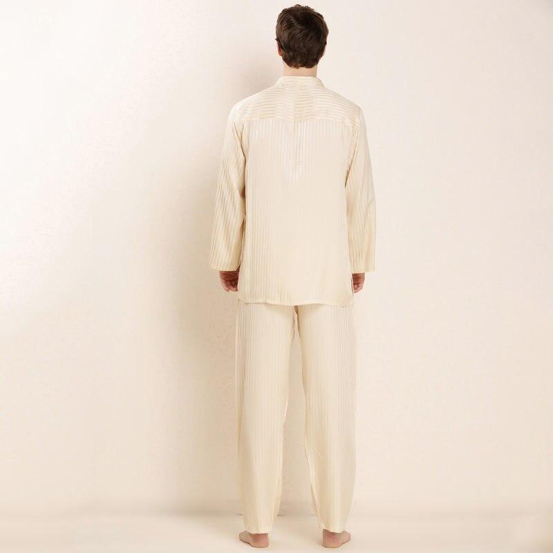 c14da35661 LIN YUN Real Silk Pajama Sets Men Sleep Casual Striped Nightgowns for Man  Long Shirt +Pant Summer Button Pajamas Silk Sleepwear-in Men s Pajama Sets  from ...